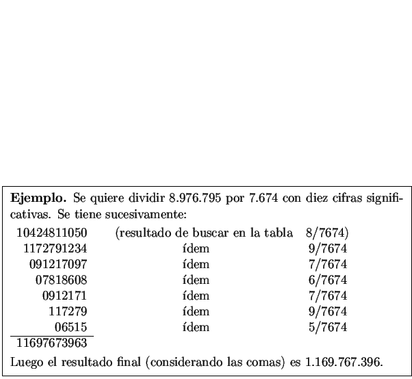 \framebox{ \begin{minipage}[t]{5 in} % \par \smallskip \par {\bf Ejemplo.} Se q... ...considerando las comas) es $1.169.767.396$. \par \smallskip \par \end{minipage}}